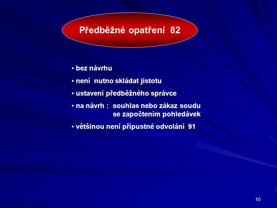 Předběžné opatření 82 bez návrhu není nutno skládat jistotu