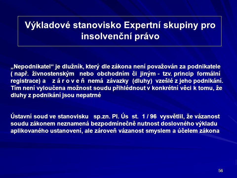 Výkladové stanovisko Expertní skupiny pro insolvenční právo