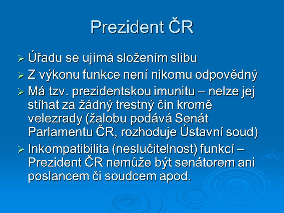 Prezident ČR Úřadu se ujímá složením slibu