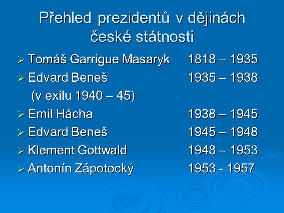 Přehled prezidentů v dějinách české státnosti