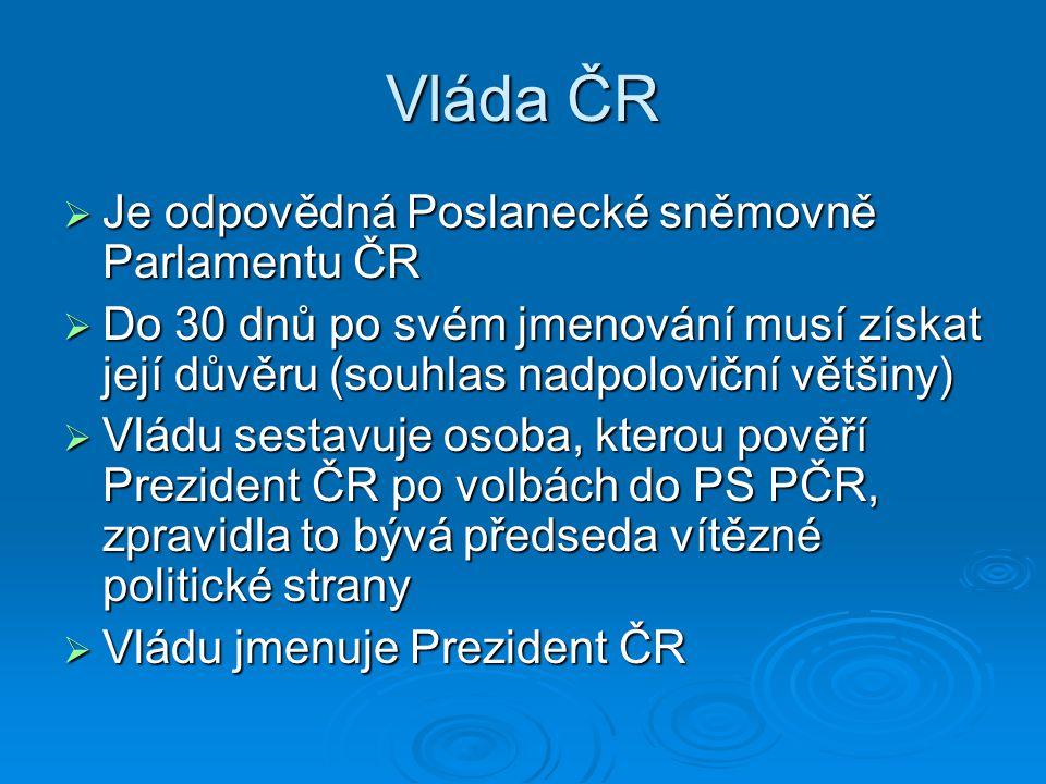 Vláda ČR Je odpovědná Poslanecké sněmovně Parlamentu ČR