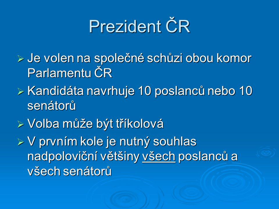 Prezident ČR Je volen na společné schůzi obou komor Parlamentu ČR