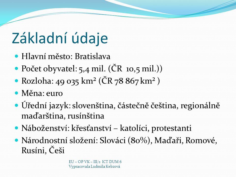 Základní údaje Hlavní město: Bratislava