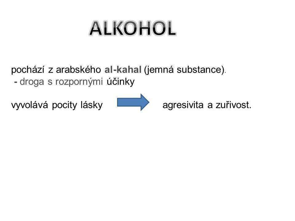 ALKOHOL pochází z arabského al-kahal (jemná substance).