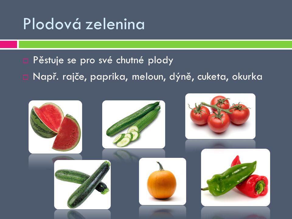 Plodová zelenina Pěstuje se pro své chutné plody