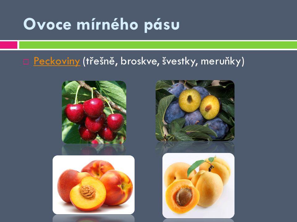 Ovoce mírného pásu Peckoviny (třešně, broskve, švestky, meruňky)