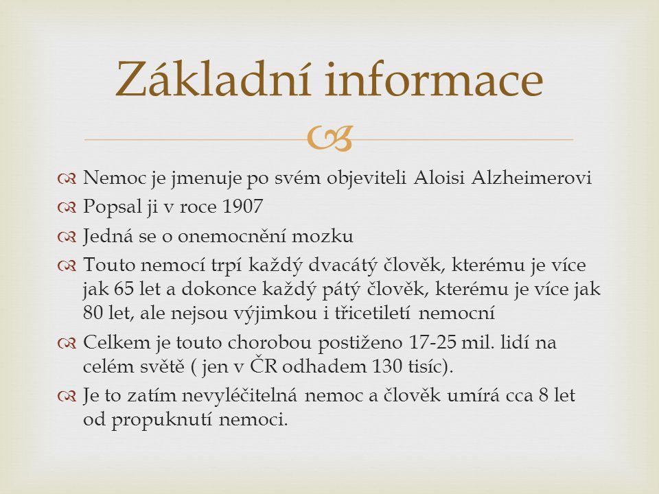 Základní informace Nemoc je jmenuje po svém objeviteli Aloisi Alzheimerovi. Popsal ji v roce 1907.