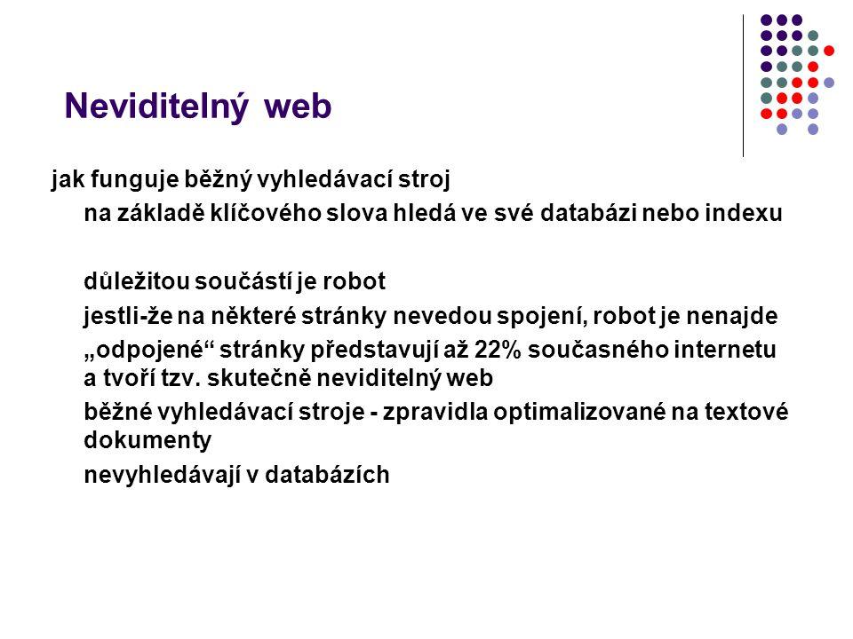 Neviditelný web jak funguje běžný vyhledávací stroj