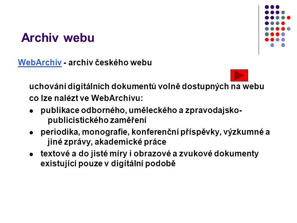 Archiv webu WebArchiv - archiv českého webu