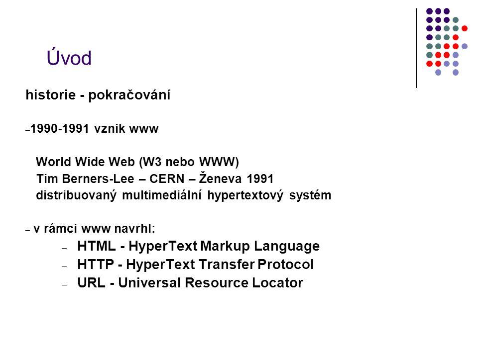 Úvod historie - pokračování HTML - HyperText Markup Language