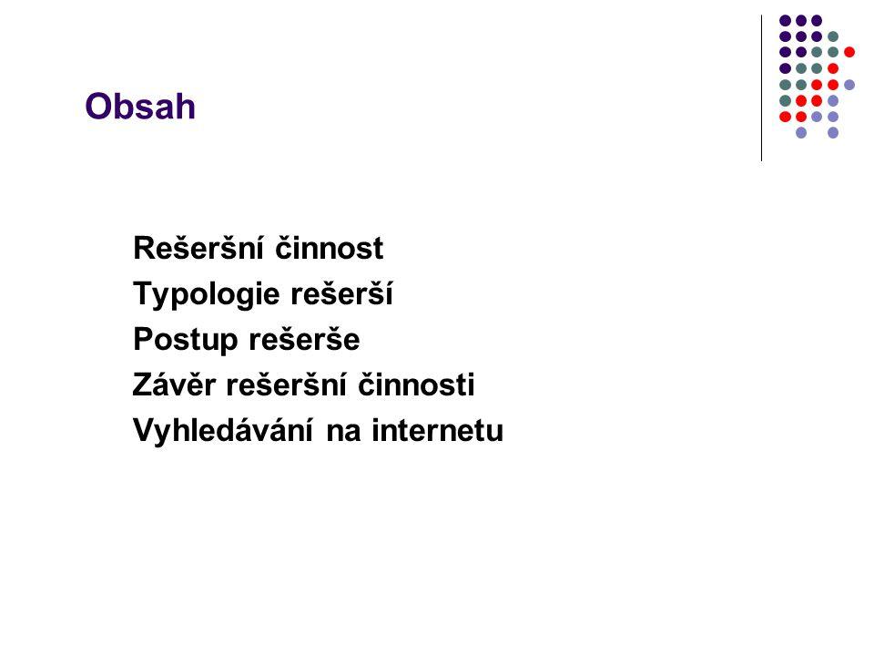 Obsah Rešeršní činnost Typologie rešerší Postup rešerše