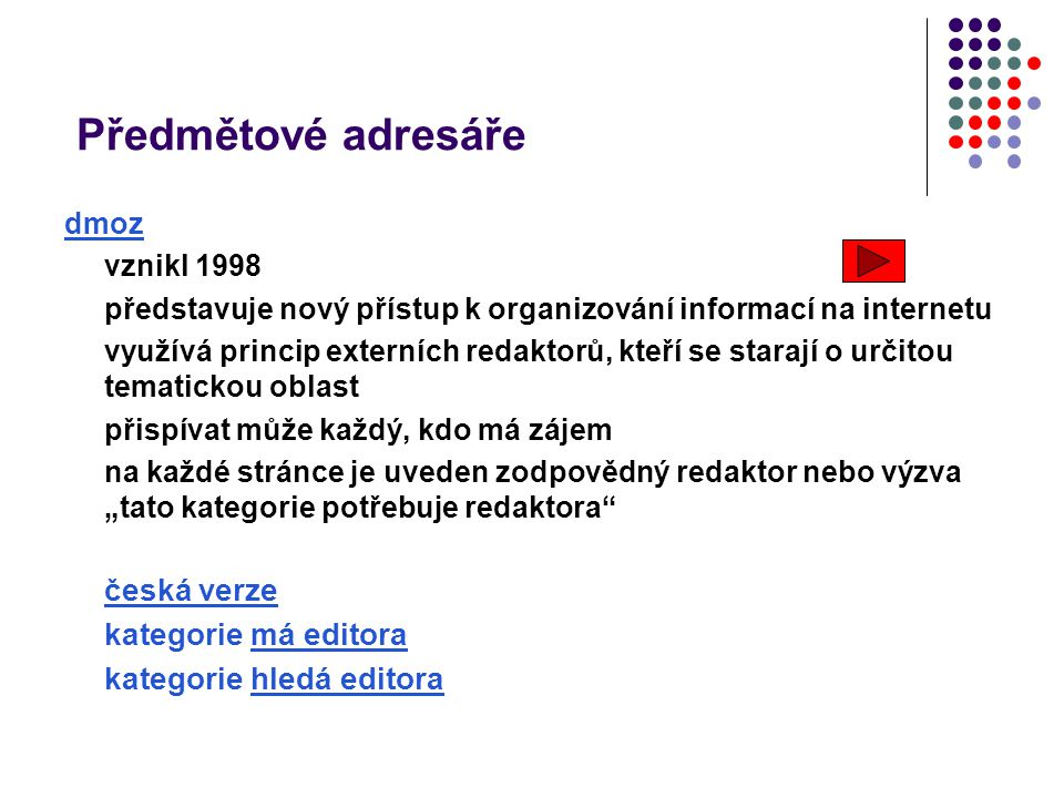 Předmětové adresáře česká verze kategorie má editora