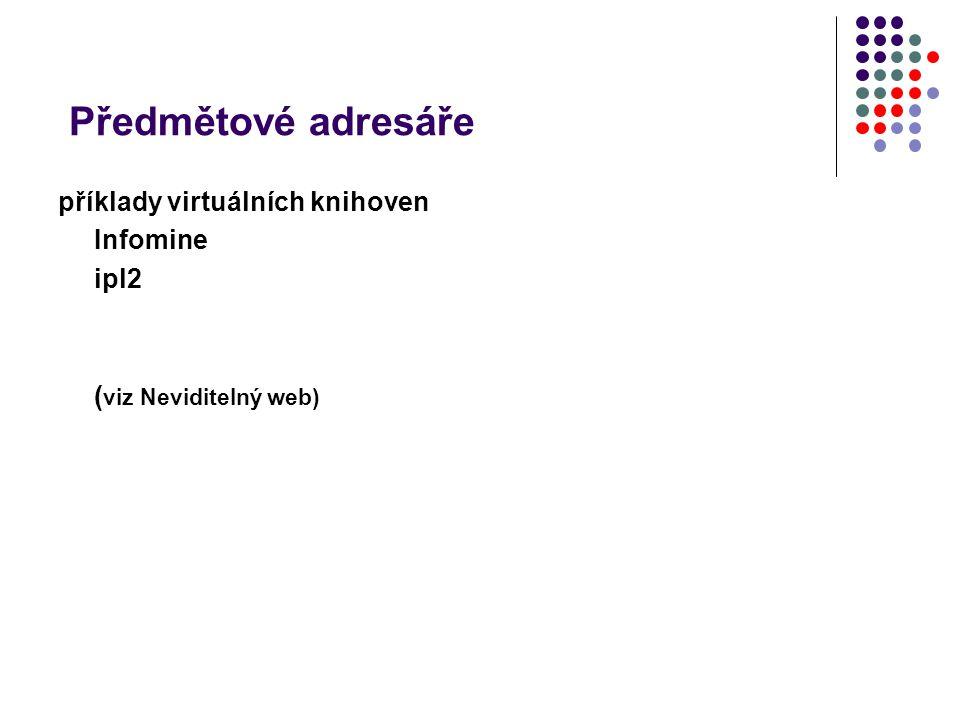 Předmětové adresáře (viz Neviditelný web)