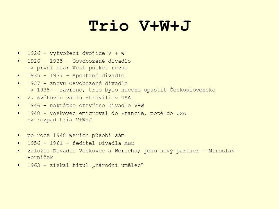 Trio V+W+J 1926 – vytvoření dvojice V + W
