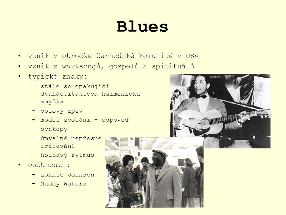 Blues vznik v otrocké černošské komunitě v USA