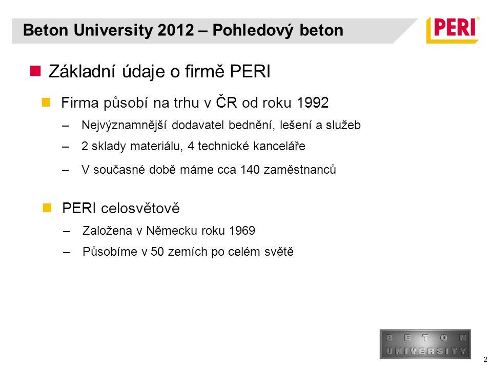 Beton University 2012 – Pohledový beton