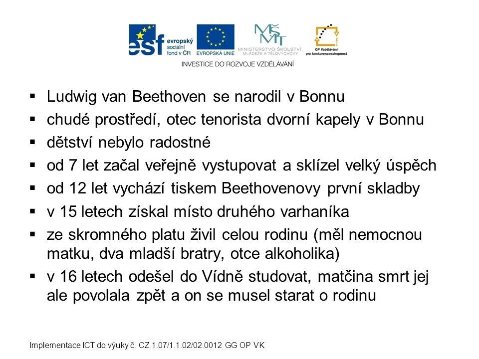Ludwig van Beethoven se narodil v Bonnu