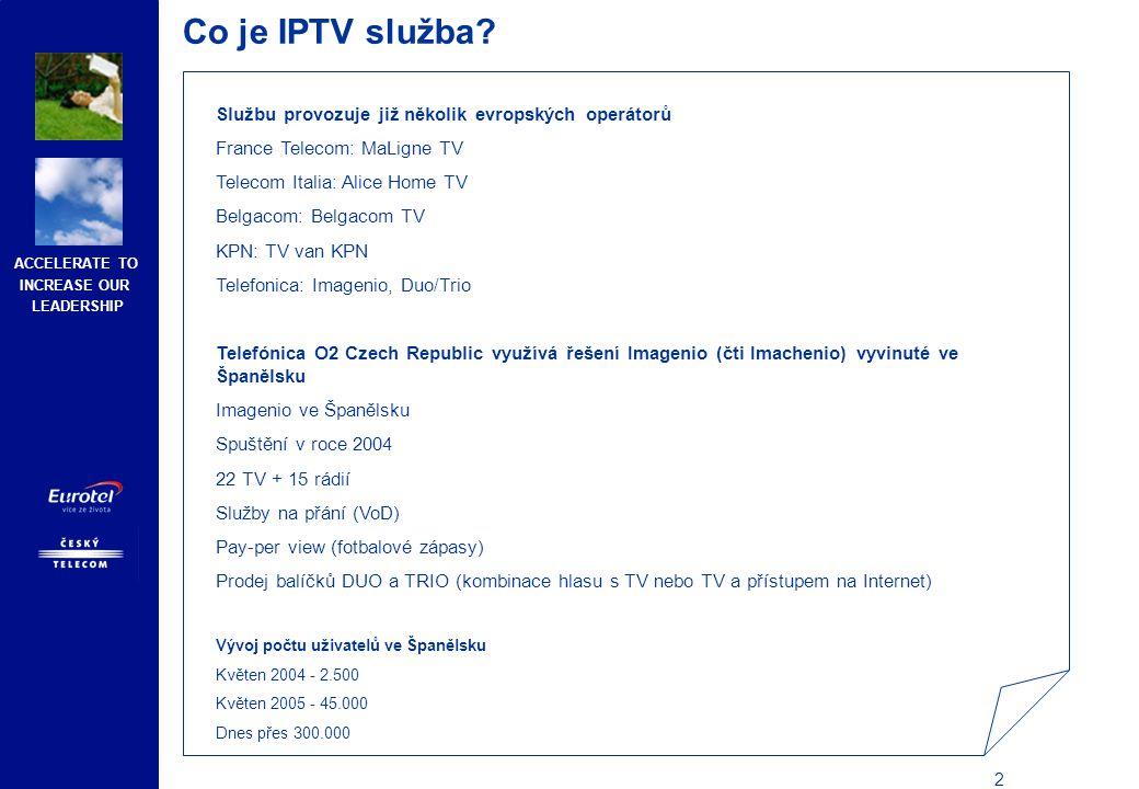 Co je IPTV služba Služba bude dostupná prostřednictvím pevné linky