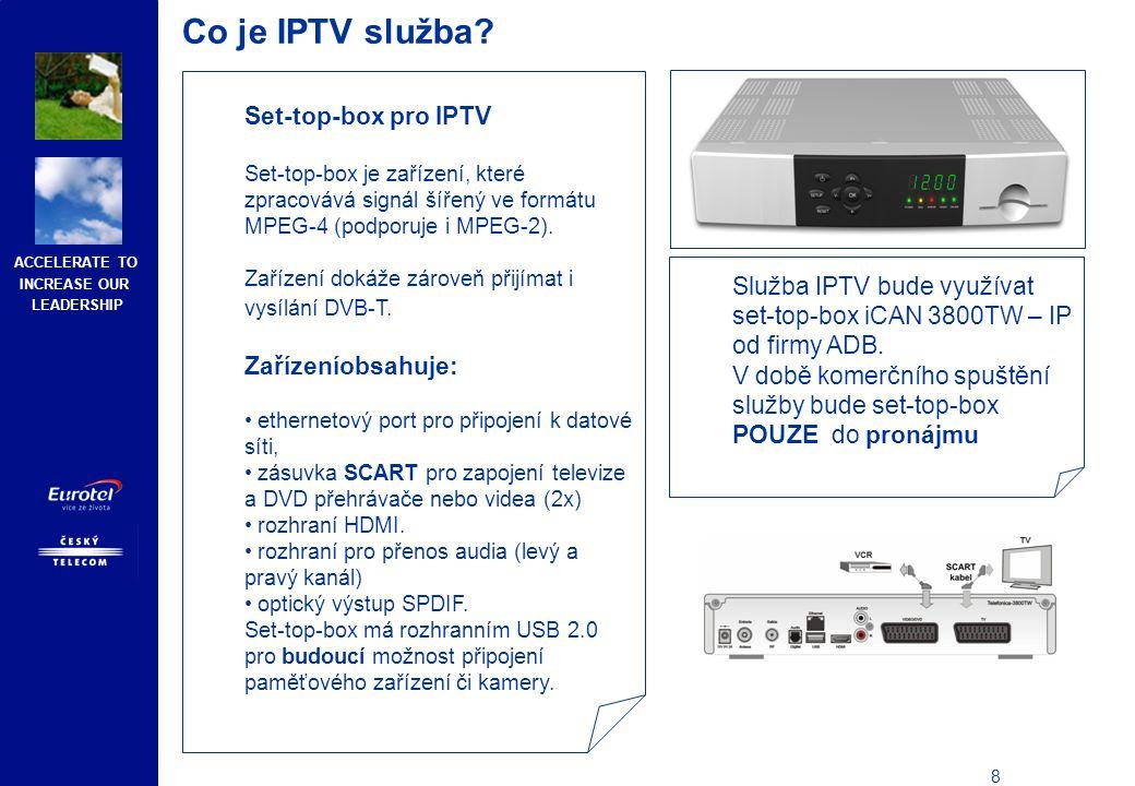 Co je IPTV služba Kombinace provozu IPTV a služby Internet Expres (a dalších ADSL produktů)