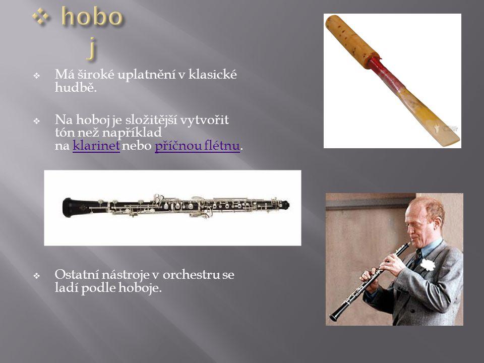 hoboj Má široké uplatnění v klasické hudbě.