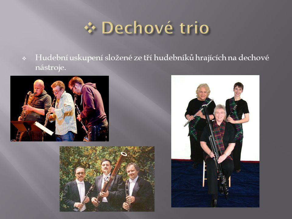 Dechové trio Hudební uskupení složené ze tří hudebníků hrajících na dechové nástroje.