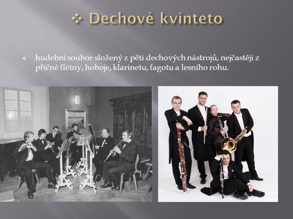 Dechové kvinteto hudební soubor složený z pěti dechových nástrojů, nejčastěji z příčné flétny, hoboje, klarinetu, fagotu a lesního rohu.
