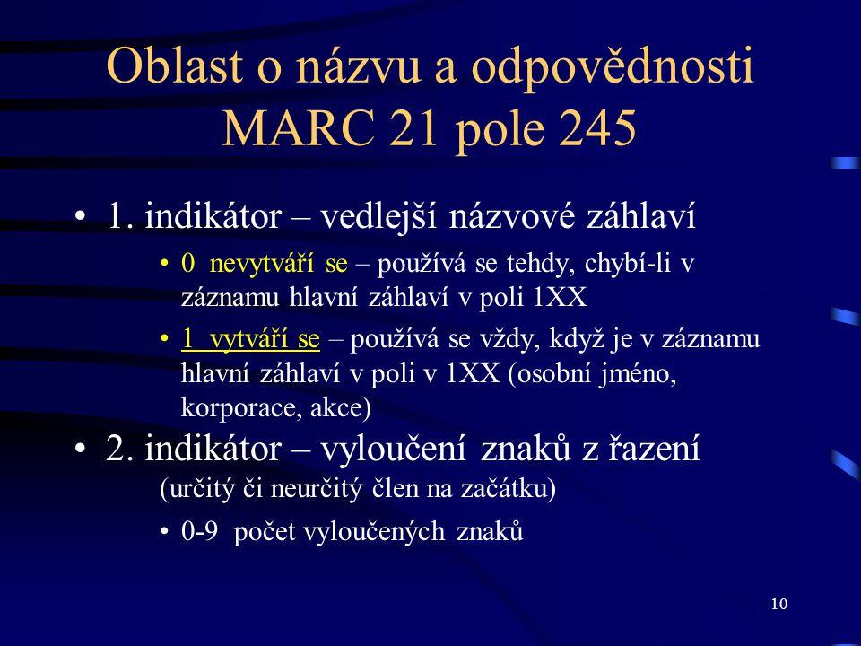 Oblast o názvu a odpovědnosti MARC 21 pole 245