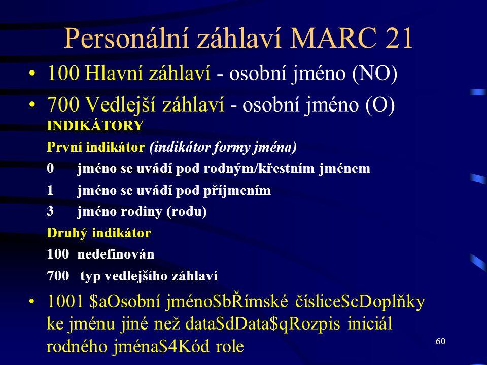 Personální záhlaví MARC 21