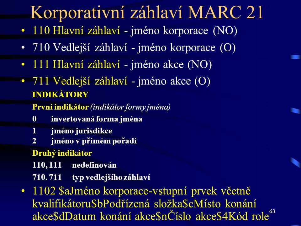 Korporativní záhlaví MARC 21