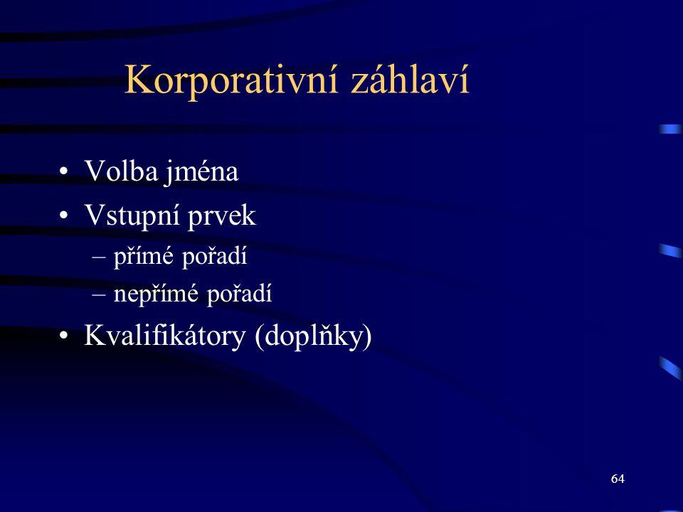 Korporativní záhlaví Volba jména Vstupní prvek Kvalifikátory (doplňky)