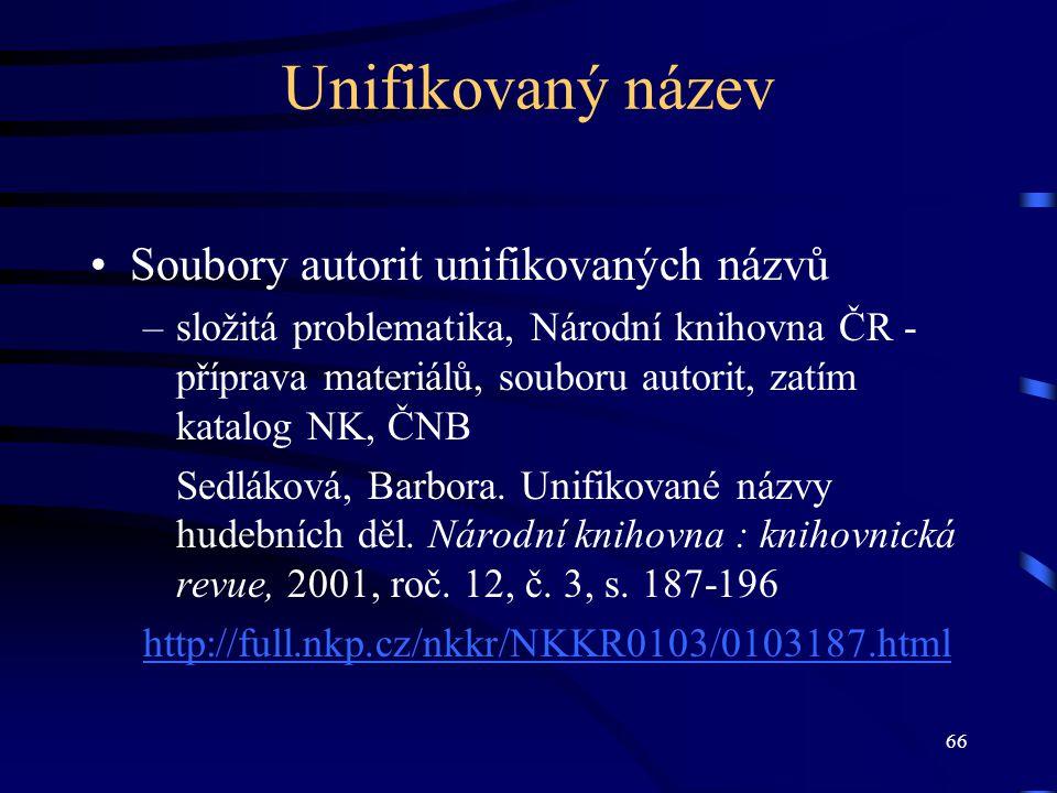 Unifikovaný název Soubory autorit unifikovaných názvů