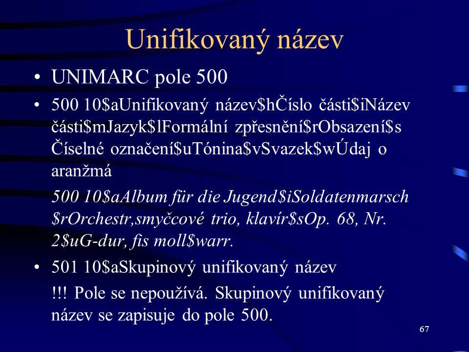 Unifikovaný název UNIMARC pole 500