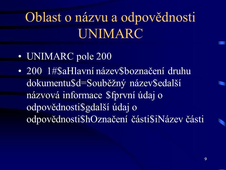 Oblast o názvu a odpovědnosti UNIMARC