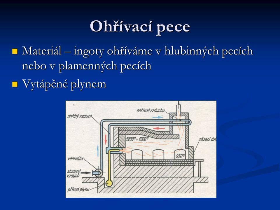 Ohřívací pece Materiál – ingoty ohříváme v hlubinných pecích nebo v plamenných pecích.