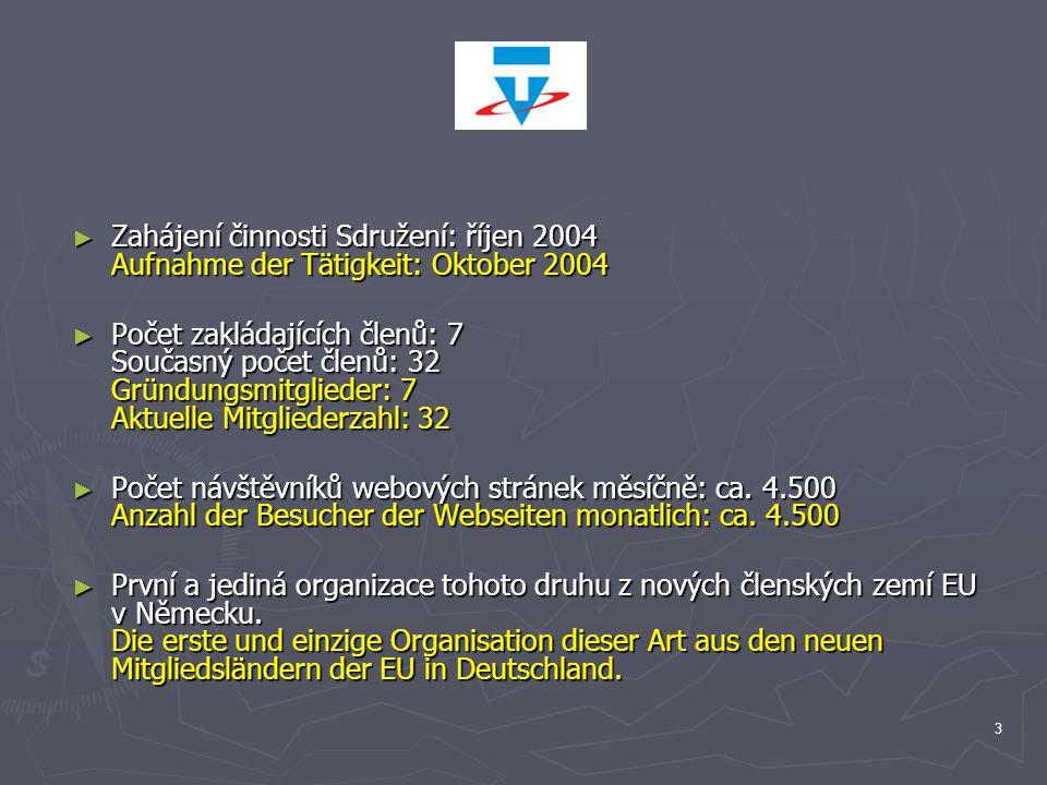 Zahájení činnosti Sdružení: říjen 2004 Aufnahme der Tätigkeit: Oktober 2004