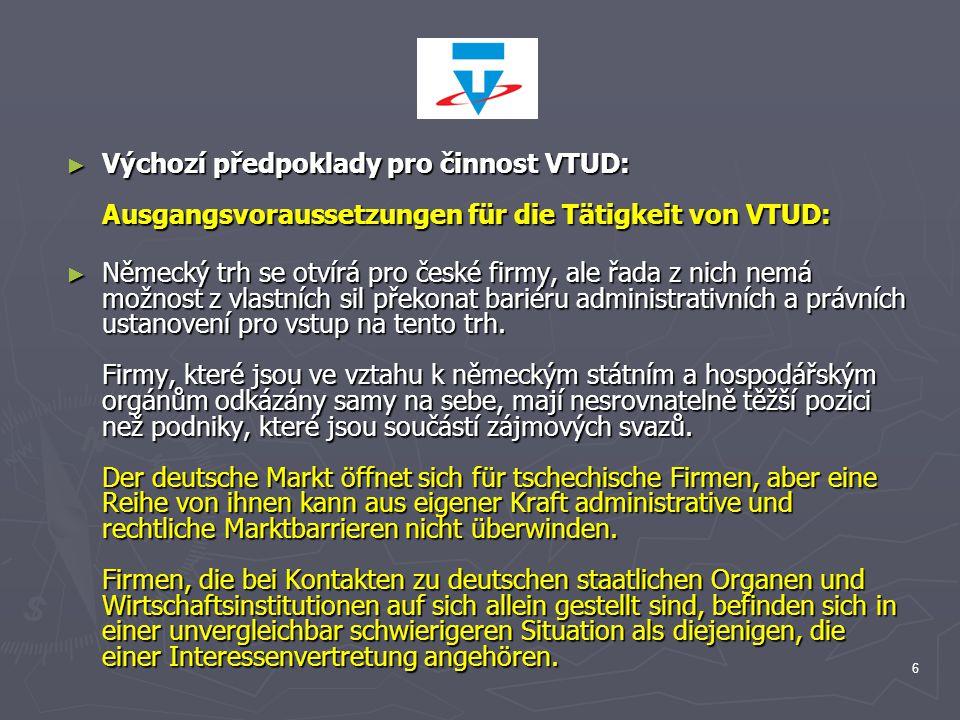 Výchozí předpoklady pro činnost VTUD: Ausgangsvoraussetzungen für die Tätigkeit von VTUD: