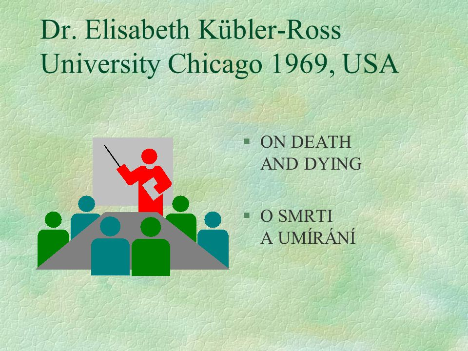 Dr. Elisabeth Kübler-Ross University Chicago 1969, USA