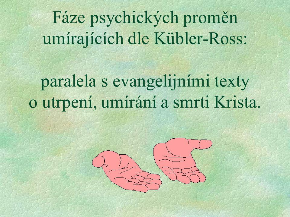 Fáze psychických proměn umírajících dle Kübler-Ross: paralela s evangelijními texty o utrpení, umírání a smrti Krista.