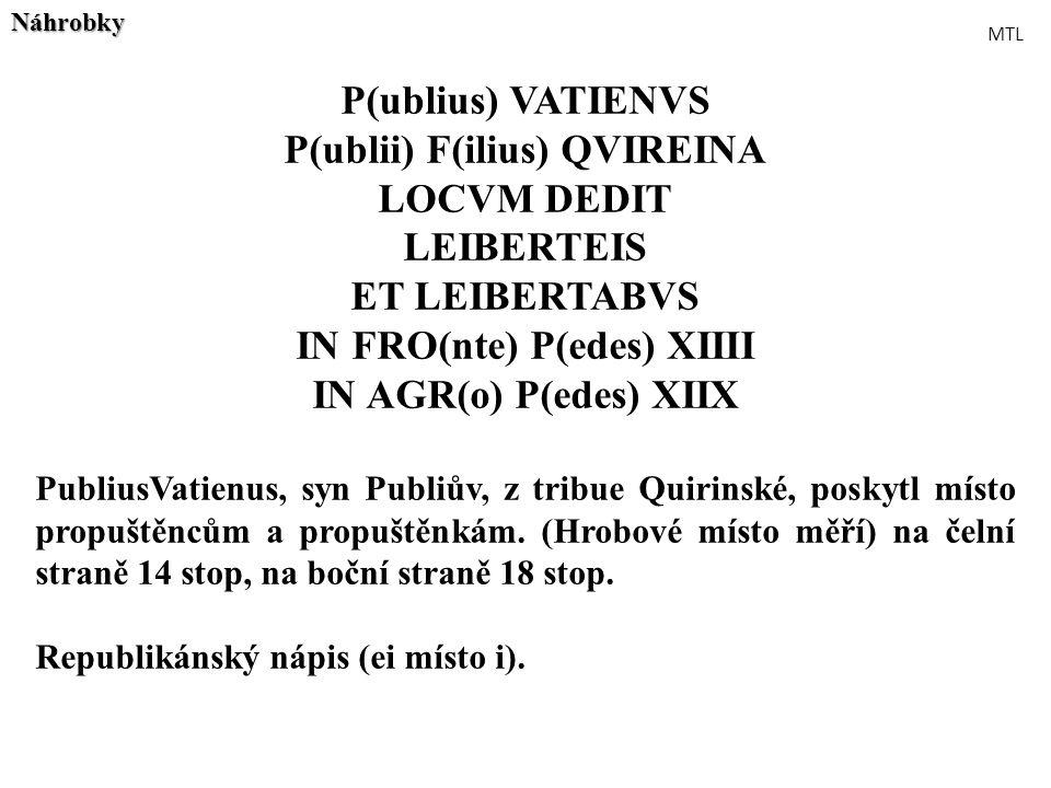 P(ublii) F(ilius) QVIREINA IN FRO(nte) P(edes) XIIII