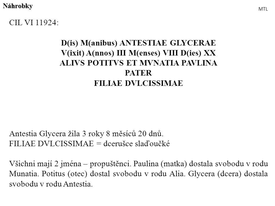D(is) M(anibus) ANTESTIAE GLYCERAE