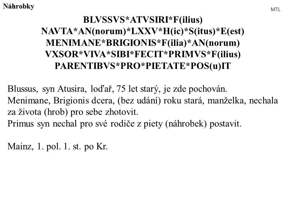 BLVSSVS*ATVSIRI*F(ilius) NAVTA*AN(norum)*LXXV*H(ic)*S(itus)*E(est)