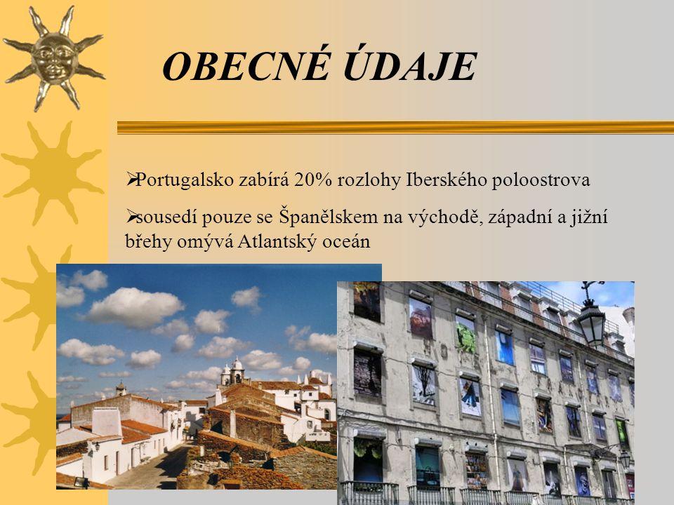 OBECNÉ ÚDAJE Portugalsko zabírá 20% rozlohy Iberského poloostrova