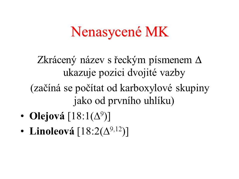 Nenasycené MK Zkrácený název s řeckým písmenem  ukazuje pozici dvojité vazby. (začíná se počítat od karboxylové skupiny jako od prvního uhlíku)