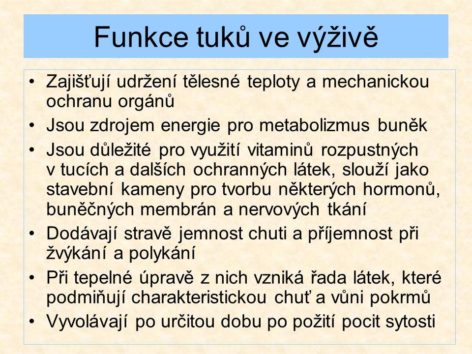 Funkce tuků ve výživě Zajišťují udržení tělesné teploty a mechanickou ochranu orgánů. Jsou zdrojem energie pro metabolizmus buněk.