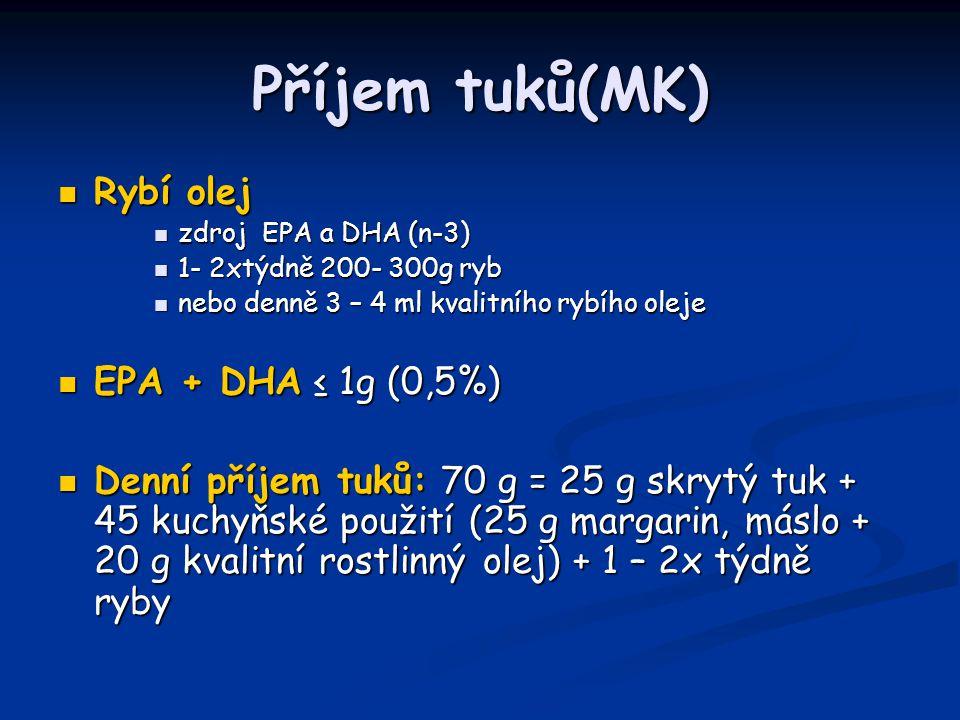 Příjem tuků(MK) Rybí olej EPA + DHA ≤ 1g (0,5%)
