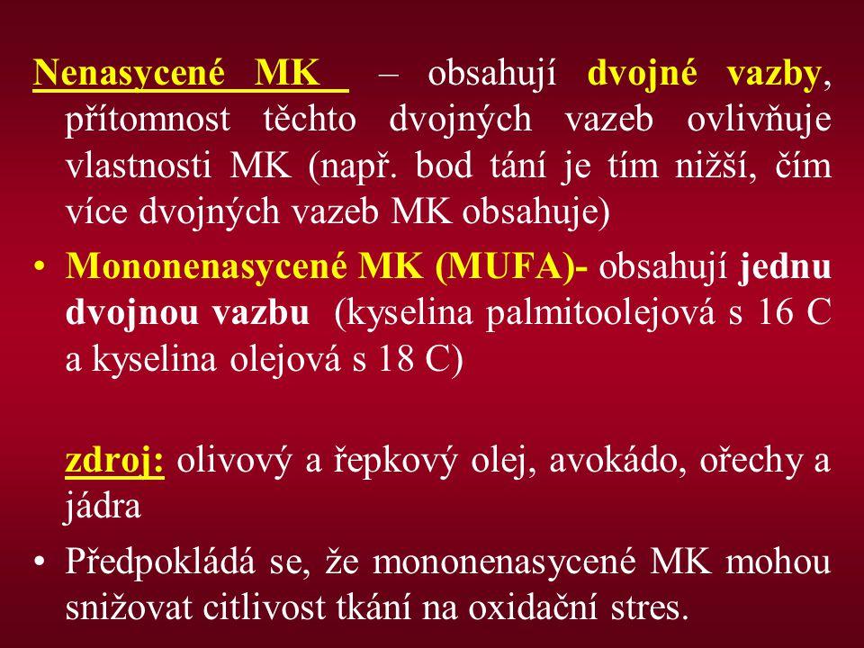 Nenasycené MK – obsahují dvojné vazby, přítomnost těchto dvojných vazeb ovlivňuje vlastnosti MK (např. bod tání je tím nižší, čím více dvojných vazeb MK obsahuje)