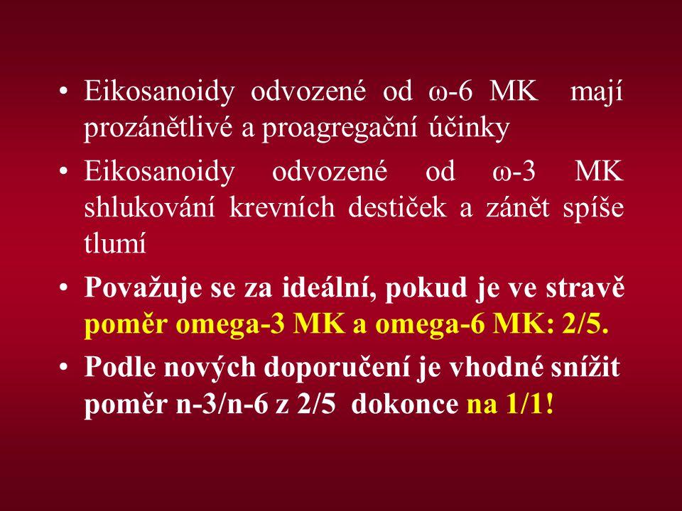 Eikosanoidy odvozené od ω-6 MK mají prozánětlivé a proagregační účinky