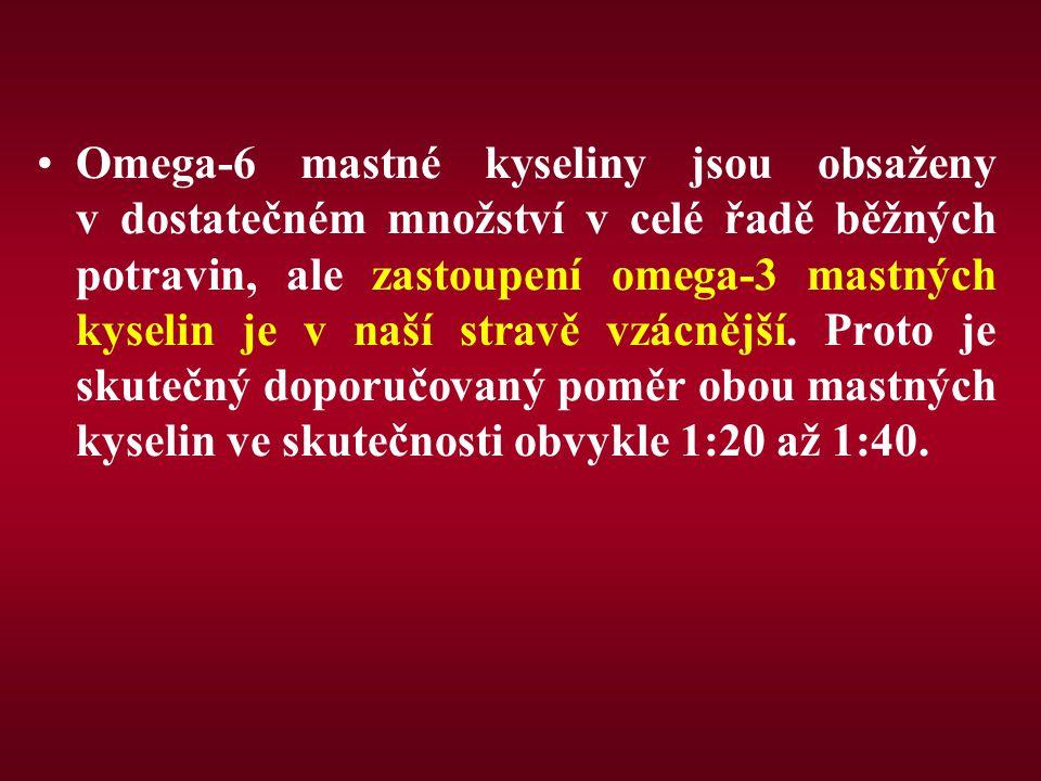 Omega-6 mastné kyseliny jsou obsaženy v dostatečném množství v celé řadě běžných potravin, ale zastoupení omega-3 mastných kyselin je v naší stravě vzácnější.