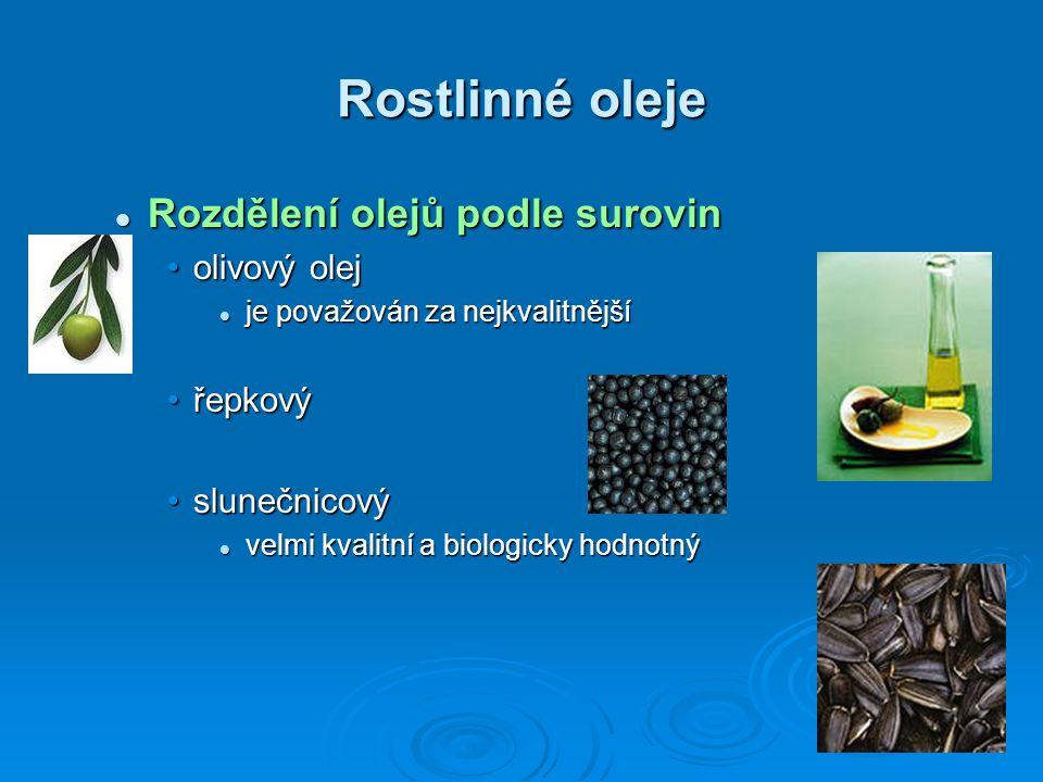 Rostlinné oleje Rozdělení olejů podle surovin olivový olej řepkový
