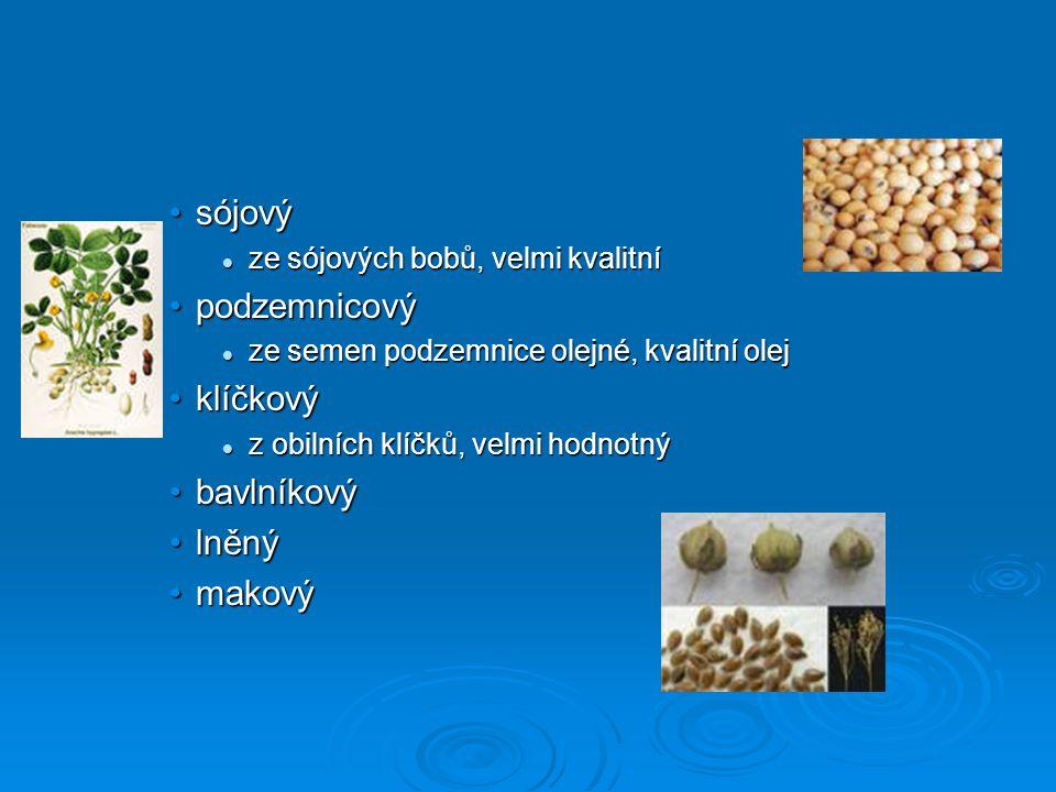 sójový podzemnicový klíčkový bavlníkový lněný makový